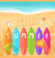 the beach with surfboards vector image