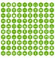 100 device app icons hexagon green vector image