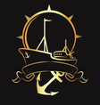 Emblem with a ship and anchor vector image vector image