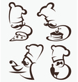 Cooking symbols food and chief silhouettes vector image