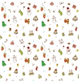 doodle christmas and new year seamless vector image