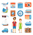 Vacation And Travel Flat Icons Set vector image
