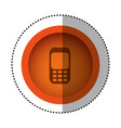 orange round symbol communication cellphone call vector image