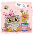 cute cartoon owl with flower vector image