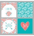 Set of Flower wedding invitation cards and 4 vector image