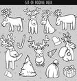 Set deer doodle different poses for design Deer vector image