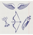 Arrows wings and bow sketch style set vector image