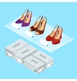 Colorful womans shoes and boxes Womens shoes with vector image