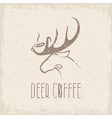 deer coffee negative space concept grunge design vector image