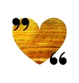 Gold heart quotation mark speech bubble vector image