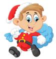 little kid with santa costum vector image