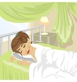 Teenager girl sleeps at bedroom with green curtain vector image
