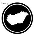 white map of hungary on black circle vector image