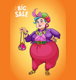 funny fat lady holding shopping bag to promote vector image