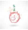 Piggy moneybox grunge icon vector image vector image