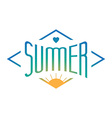 Vintage Summer label with sun and heart wit vector image