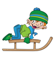 boy on a snow sled vector image vector image
