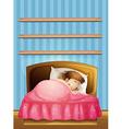 Little girl sleeping in bed vector image