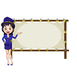 A hostess presenting the empty template vector image