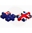 Australia and United Kingdom Flags in puzzle vector image