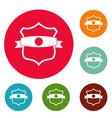 badge classic icons circle set vector image