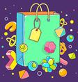 colorful of green shopping bag on dark backg vector image