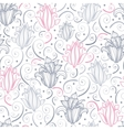 Gray and pink lily lineart seamless pattern vector image