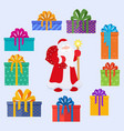 set of santa claus character and christmas gifts vector image