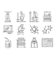 Thin line style chemistry icons vector image