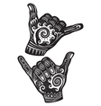 Shaka surf hand sign vector image