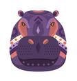 hippopotamus head logo decorative emblem vector image