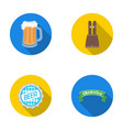 shorts with suspenders a glass of beer a sign vector image
