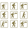 Set of hiking icons vector image