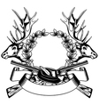 elk heads crossed rifle hat and oak wreath vector image vector image