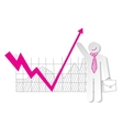 Businessman holding falling down graph line and vector