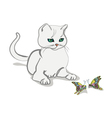 cat and butterfly 3 vector image