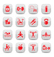 bodybuilding and fitness icons set vector image