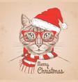 christmas hipster fashion animal cat vector image