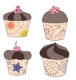 set of chocolate cupcakes vintage vector image