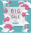 spring sale banner with paper cut lotus flowers vector image