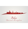 Bolton skyline in red vector image vector image
