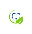 dentist teeth leaf organic logo vector image vector image