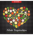 Heart Shaped Fresh Vegetables Poster vector image