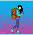 girl holding a mobile phone social networks in vector image