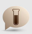 Medical Tube icon Laboratory glass sign Brown vector image