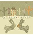 Retro Rabbits Christmas Card vector image
