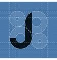 Round engineering font Symbol J vector image