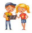 two happy kids looking at tablet pc computer vector image