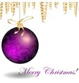Christmas bauble and golden ribbons vector image vector image