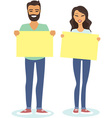 couple holding blank cards vector image